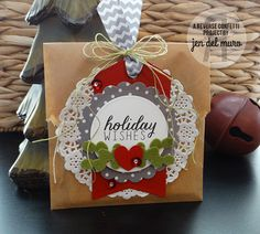 Pretty Package by Jen del Muro. Confetti Cuts: Circles n Scallops, Tag Me, Love Note and Petals n Posies. Christmas Food Gifts, Holiday Gift Tags, Christmas Gift Wrapping, Christmas Tag, Christmas Crafts, Confetti Cards, Pretty Packaging, Craft Sale, Paper Gifts