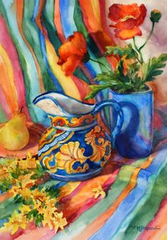 FIESTA--- 20x27 watercolor still life painting by Mary Shepard. Painted using vibrant and intense colors.  www.maryshepard.com