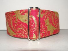 Martingale Dog Collar  * Red & Gold Angels Christmas* Greyhound *adjustable    2 inch martingale collar