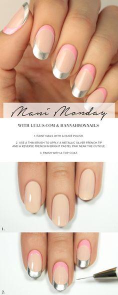 Mani Monday: Silver and Pink Modern Nail Tutorial at LuLus.com!