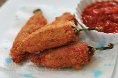 Cheese-stuffed peppers a la chilli relleno