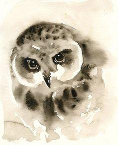 OWL Art Print 8x10inchHome decorwall artanimal door dimdimini, $19.00