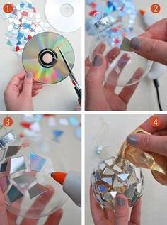 Cut up old CDs and glue to plastic ornaments - DIY ornaments - mosaic ornaments - disco ball ornaments