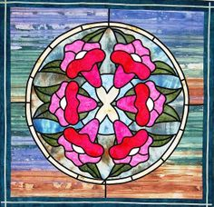 """Fanlight Reflection"" stained glass quilt by Gina Burgess"