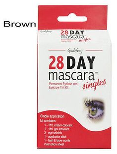 Godefroy 28 Day Singles Eyelash tint Mascara, Single application kit (brown)
