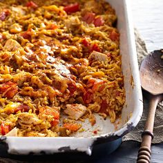 Bring a taste of the Southwest to your next potluck with a spicy chicken and rice casserole: http://www.bhg.com/recipes/casseroles/company-worthy-casseroles/?socsrc=bhgpin040414texmexchickenandrice&page=2