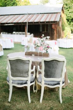 Silver Velvet Chairs for the Bride and Groom | Amanda Watson Photography | Sophisticated Countryside Wedding in Sparkling Blush