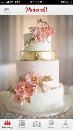 Coral and gold wedding cake.... Must have it