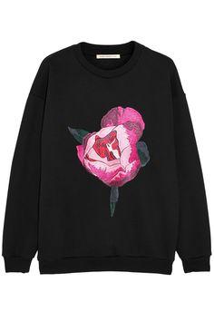 Christopher Kane|Peony-embroidered cotton-blend sweatshirt|NET-A-PORTER.COM