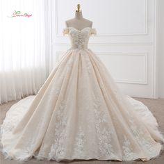 Anjo sonho Trem Real vestido de Baile Querida Vestidos de Casamento 2018 Apliques de Flores Do Laço Do Vintage Vestidos de Noiva Vestido De Noiva