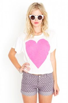 Neon Heart Crop Tee and Tough Love Shorts by Wildfox