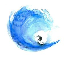 Wave watercolor painting - Giclee print Surf art surfboard painting Aqua Blue Zen drawing by Michelle Dujardin Surf Inspiration for coloring! Use Aurora Art Supplies pencils! http://aurora-artsupplies.com #surfinginspiration