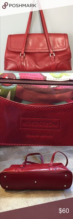 Nordstrom Candy Apple Red purse Double strap with single flap purse.  It has metal feet to protect the bottom. Inside it Has one large zipper pocket. Pen holders. 2 large drop in pockets. There are some light scratches but no significant damage. Inside clean. Nordstrom Bags Shoulder Bags