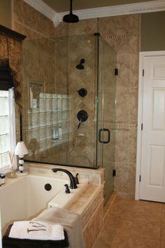 Master Bath - ORB fixtures, olive paint