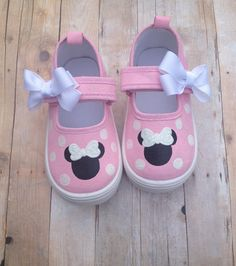 Light Pink Minnie Mouse Shoes by BeaucoupBoutique on Etsy maybe try for purple?