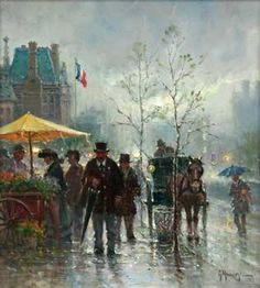"""Oil and Canvas, Sold for the bargain price of """"A Touch of Paris"""" G. G Harvey, I Love Paris, Artsy Fartsy, Watercolors, Oil On Canvas, Art Gallery, Rain, Auction, Inspire"""