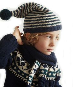 Childs Round Yoke Sweater, Pull-On Hat And Scarf In 3/4 pattern