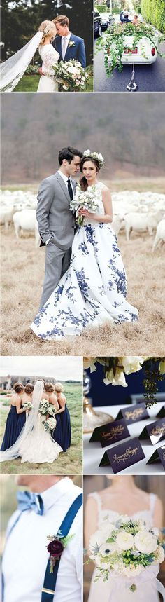 All of this navy and white wedding fashion is on point. Especially that navy blue bow tie at the bottom. Too cute!