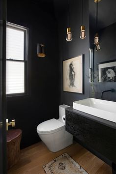 Powder Room Paint, Black Powder Room, Tiny Powder Rooms, Modern Powder Rooms, Powder Room Design, Green Powder, Small Dark Bathroom, Dark Bathrooms, Black Bathroom Paint