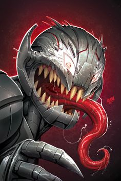 Venomized Ultron from the new Marvel Previews for comics shipping in September (will ship as a variant cover for Champions). Part of a line-wide Venomverse push, so no shortage of cool and creepy stuff. Was thinking about Neon Genesis Evangelion when I painted this--y'know organic monster under a metal shell.