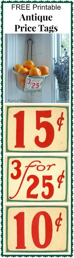 Antique Grocery Store Price Tags and Receipt ~~~ Visit Knick of Time for FREE Printables