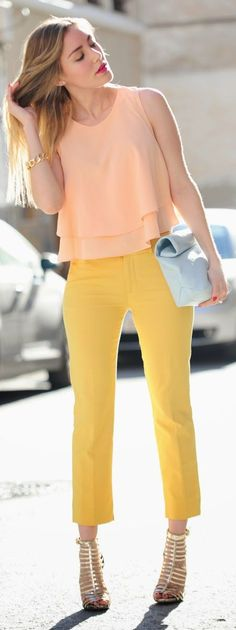 IN LOVE!! Zara Apricot Layered Crop Tankini by Personal Style. Knowing myself. I wouldn't wear those colors together but I love both pants and shirt.