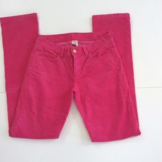 "HP J. Crew Cords  Wear Your Pink In Style  5 pocket straight leg cords in EUC  Beautiful rich pink color  Measurements: waist 31""; hip 38""; inseam 33""; rise 8"". City Fit. Have a little stretch  Fabric 98% cotton; 2% spandex  Smoke Free Home  Best of Fall Host Pick by @2015pily  J. Crew Pants Straight Leg"