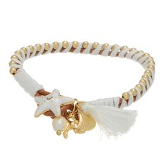 "7"" camel brown tone faux leather bracelet featuring a white enamel coated starfish shaped closure accented by a white tone thread wrapping and gold tone beading."