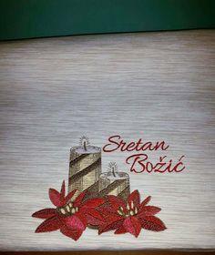 Kitchen napkin with Christmas candles machine embroidery design #ChristmasCandle #KitchenNapkin #embroiderydesign #HomeDecoration #designforhome #HappyNewYear