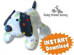 Puppy Dog Pete Soft Toy Sewing Pattern INSTANT DOWNLOAD