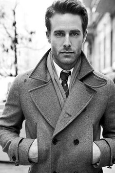 Love gray peacoats with wide collars for men