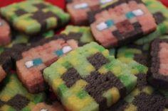 Minecraft Creeper and Steve Cookies - Quake N Bake Minecraft Cookies, Minecraft Cake, Minecraft Party, Minecraft Ideas, Yummy Treats, Sweet Treats, Yummy Food, Bento, Kawaii Cooking