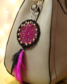 Crochet mandala dreamcatcher keychain  Add that charm to your handbag or keys with our beautiful crocheted keychain. It has a metal clasp and ring, so you can attach it to your keys or bag in whatever method suits you. • Price- 190/-(shipping excluded) Dm for details  #customerdiaries #diydreamcatcher #dreamcatcher #love #catchthydreams #makeinindia #mumbai #keychain #dreamcatcherkeychain #diy #handmade #buyhandmade #crochet