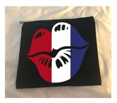 black canvas bag with zipper and lips done in red, white, and blue Custom Makeup Bags, Lots Of Makeup, Black Canvas, Customized Gifts, Cosmetic Bag, Create Your Own, Red And White, My Etsy Shop, Blue Makeup