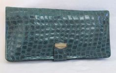 Girl Scout Vintage Wallet 1960s Green Faux Alligator Look Clutch Style