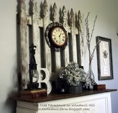 picket fence section for fireplace focal point via The Olde Farmhouse on Windmill Hill