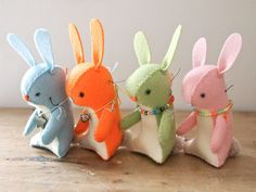 Easter Bunny Felt mini soft sculpture artists doll Pastel bunny