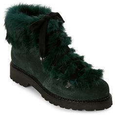 Elena Dark Green Fur-Trimmed Lace-Up Boots ($170) ❤ liked on Polyvore featuring shoes, boots, green, leather boots, faux leather boots, leather lace up boots, laced boots and lug sole boots