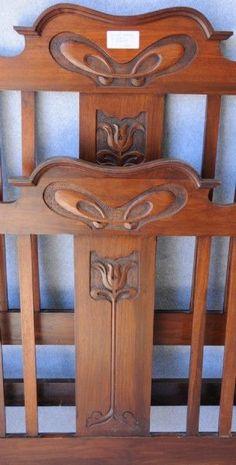 An Australian blackwood Art Nouveau double bed
