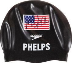 2008 Michael Phelps Swim Cap Worn as He Won Eighth Olympic Gold  Medal.
