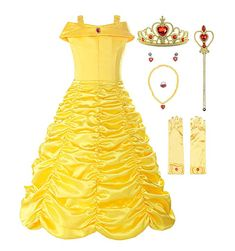 ReliBeauty Little Girls Layered Princess Belle Costume Dress up with Accessories, Yellow, Princess Belle Costume, Disney Princess Dress Up, Rapunzel Costume, Costume Dress, Aurora Costume, Pocahontas Costume, Deer Costume, Jasmine Costume, Cowgirl Costume