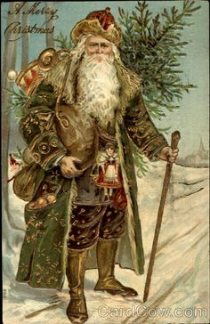 Vintage Christmas Card I love Old World Santa's! Is that father Christmas or Sana? I've never really understood the difference :) Images Vintage, Vintage Christmas Images, Old Christmas, Old Fashioned Christmas, Victorian Christmas, Father Christmas, Vintage Holiday, Christmas Pictures, Christmas Holidays