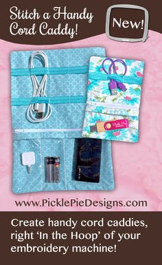 Tech to Go Cord Caddies - make these nifty tech organizers right 'In the hoop' of your embroidery machine! Find this Machine Embroidery Design Set at www.PicklePieDesigns.com.