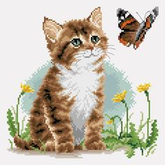 Kitten and butterfly preview -  free cross stitch pattern pinned separately