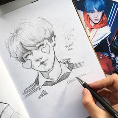 When I saw this badge with Min Yunki. Kpop Drawings, Fanarts Anime, Art Hoe, Kpop Fanart, Drawing Reference, Art Tutorials, Drawing Sketches, Art Inspo, Anime Art