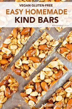 Recipes Snacks Bars 5 Ingredient Homemade KIND Nut Bars (V, GF, DF): an easy, one bowl recipe for irresistibly salty and sweet homemade KIND bars. Healthy Snack Bars, Healthy Breakfast Recipes, Vegetarian Recipes, Healthy Recipes, Protein Bar Recipes, Smoothie Recipes, Snack Recipes, Homemade Kind Bars, Homemade Cereal Bars