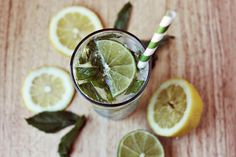 Rum, Club Soda, Simple Syrup (you can also make your own, see below), Fresh mint, Lemons and Limes. You'll need a shot glass for measuring too.