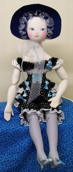 Lizette Bonnet Blu' Victorian Boudoir Style Cloth Art Doll by Paula McGee of theThread on Etsy