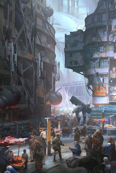 Scifi_busy_city., Yujin Choo on ArtStation at https://www.artstation.com/artwork/scifi_busy_city
