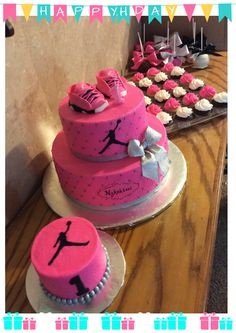 Pink Jump-man 1st Birthday Cake, smash cake, cupcakes and chocolate covered apples